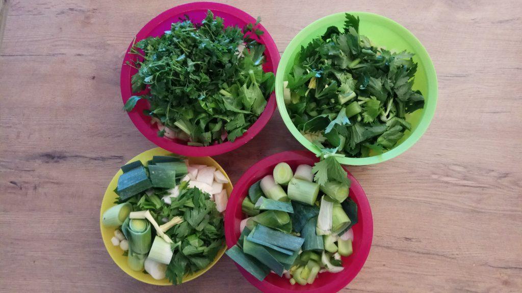 Gemüse kleingeschnitten